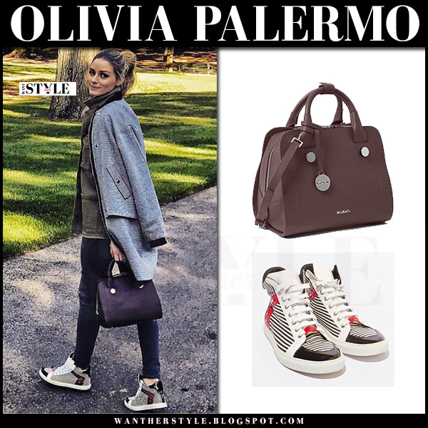 Olivia Palermo in grey jacket, black leather j brand pants and high top sneakers max&co what she wore