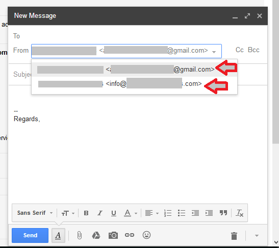 gmail send email as select email