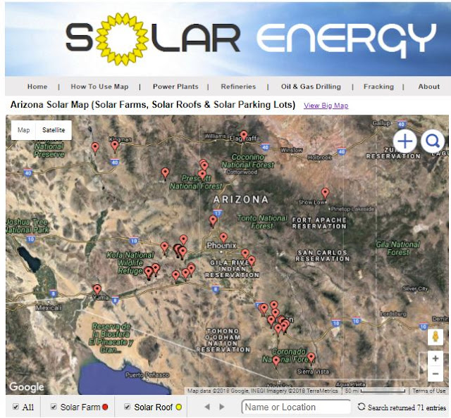 Satellite Map Of Arizona.Solar Energy Data Map Of Solar Farms In Arizona
