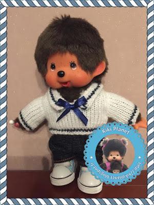 Pull marin fait main pour Kiki ou Monchhichi - handmade - tricot - vêtement - création