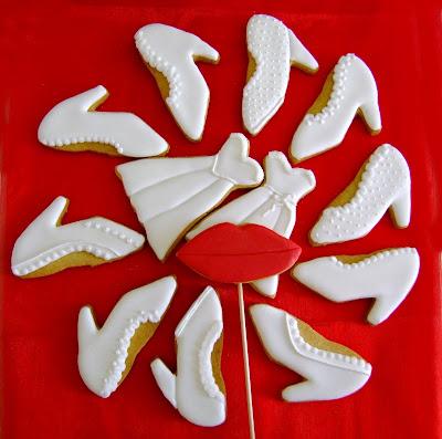 galleta vestido y zapatos de novia
