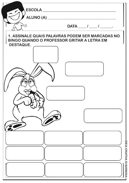 Ficha Didática Bingo Páscoa Galinha Pintadinha