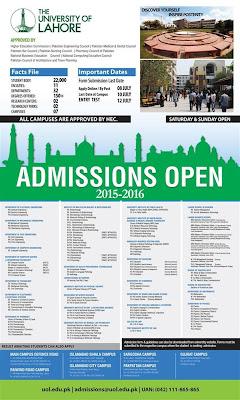uol admissions 2015, university of lahore
