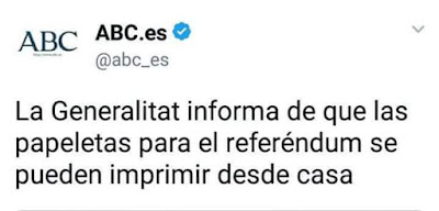 La Generalitat informa de que las papeletas para el referéndum se pueden imprimir desde casa