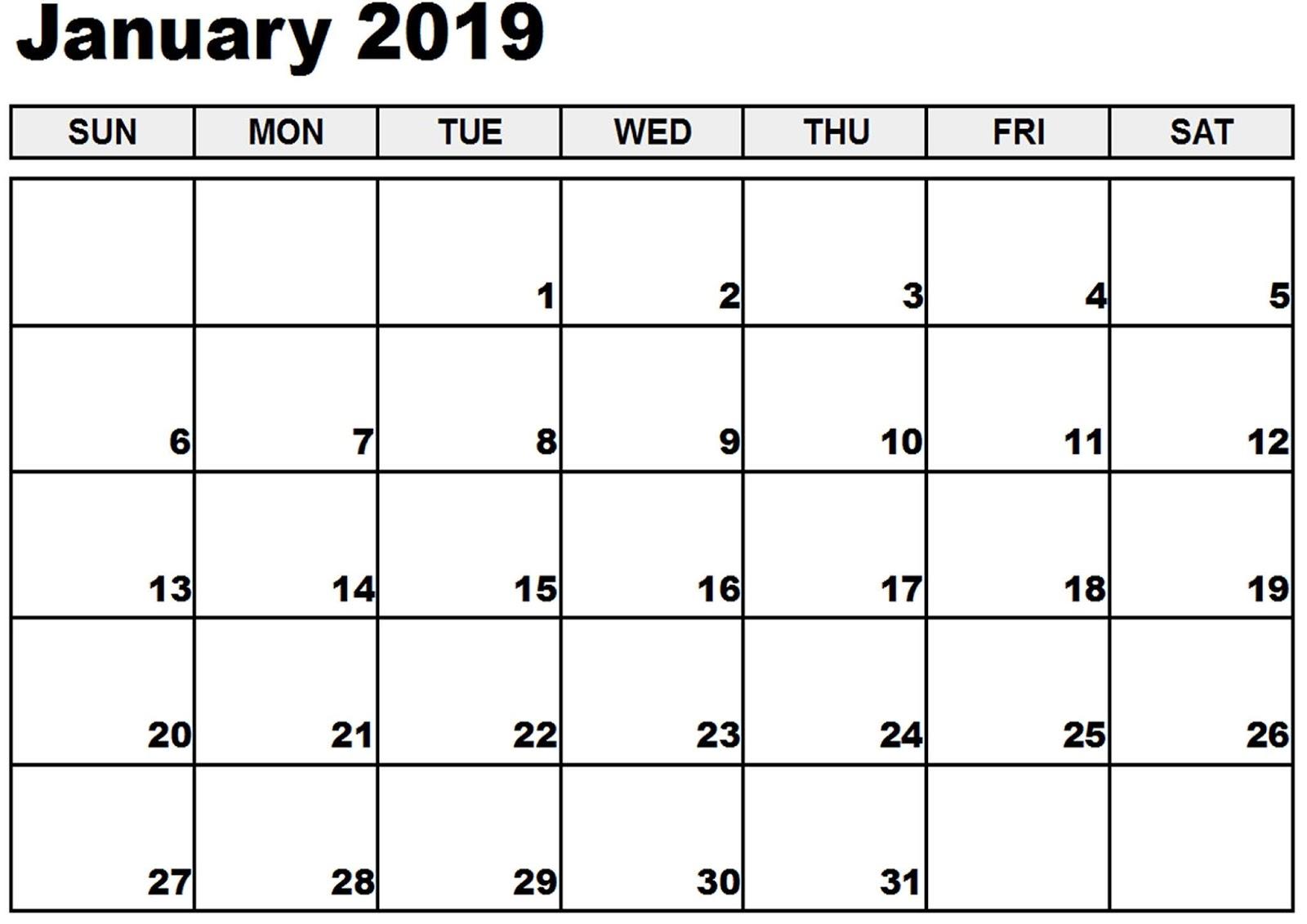 january 2019 calendar a4 download free