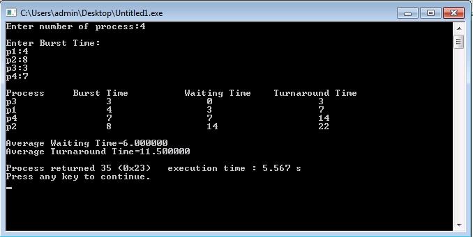 C Program for Shortest Job First (SJF) Scheduling Algorithm