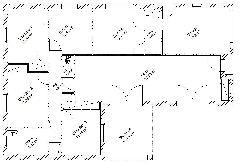 Plan Maison Plain Pied 80m2 3 Chambres Sans Garage Auto