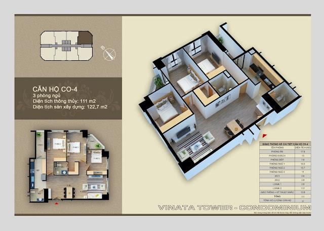 Căn hộ 04 diện tích 111 m2