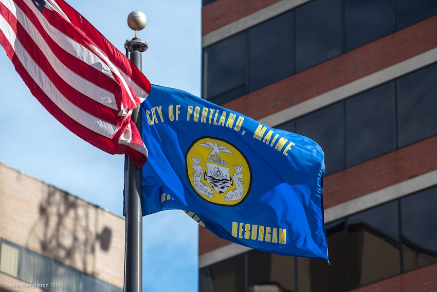 Current Portland, Maine USA City Flag photo by Corey Templeton. March 2016.
