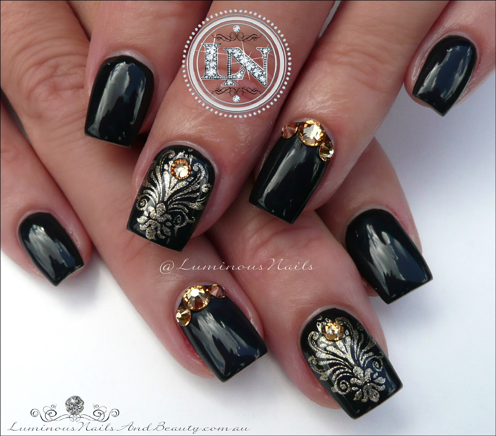 Glossy Black Nails With Damask Stamping Acrylic Gel