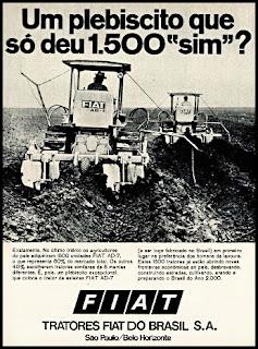 Propaganda Trator Fiat AD-7 - 1970, Fiat do Brasil, Oswaldo Hernandez, década de 70, trator anos 70,