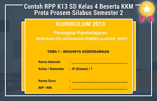 Contoh RPP K13 SD Kelas 4 Beserta KKM Prota Prosem Silabus Semester 2