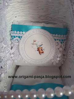 narodziny, cud, wózek, wiklina papierowa, chrzest, ślub, roczek, biały, biel, prezent,
