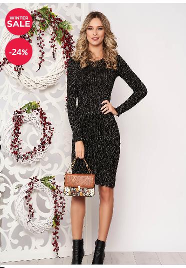 Rochie casual eleganta aurie tip creion midi elastica cu maneci lungi reducere