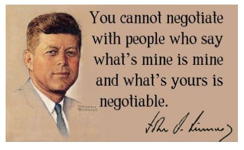 John F Kennedy On Negotiations District Of Calamity