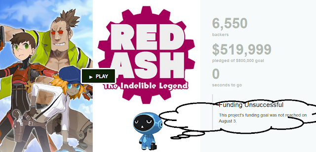 Red Ash The Indelible Legend Kickstarter funding unsuccessful failure Comcept