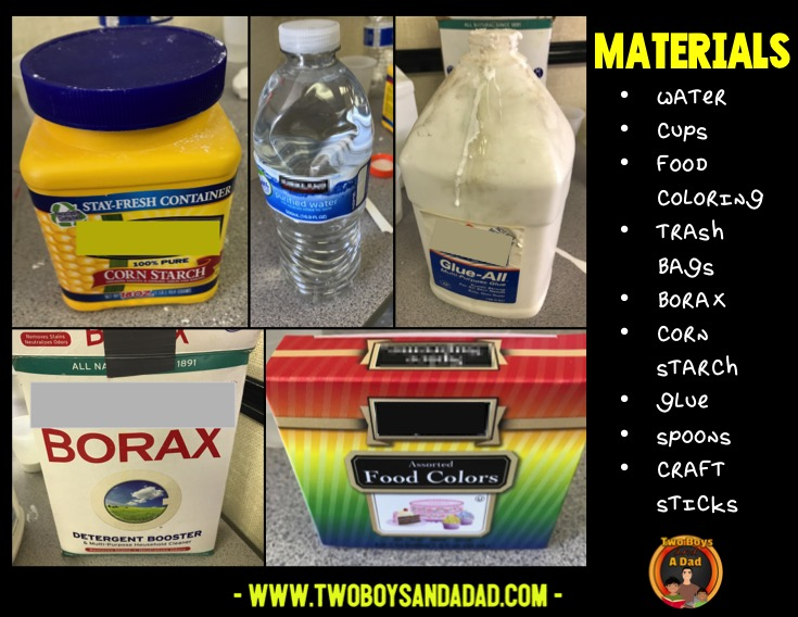 Materials or ingredients needed for the hands on science activity