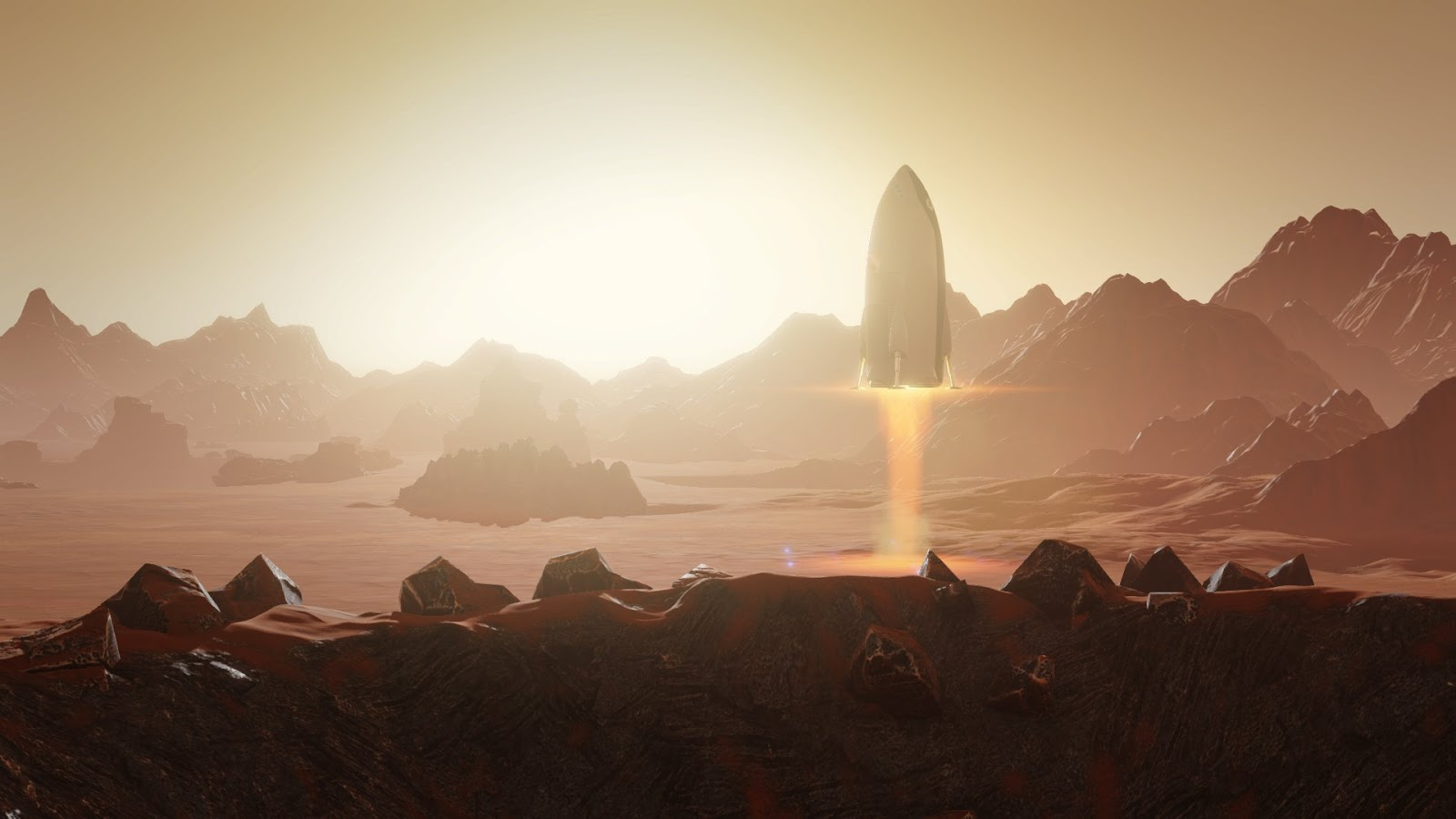 Spaceship landing on Mars from Surviving Mars game