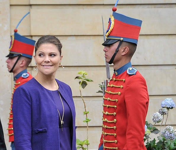Crown Princess Victoria of Sweden leaves the Presidential Palace Casa de Nariño after a private meeting with Colombia's president Juan Manuel Santos