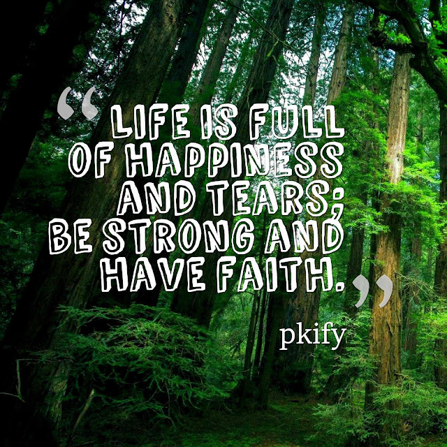 Life Is Full of Happiness and Tears; Be Strong and Have Faith Life Quotes