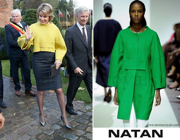 Queen Mathilde wore NATAN Coat in Yellow
