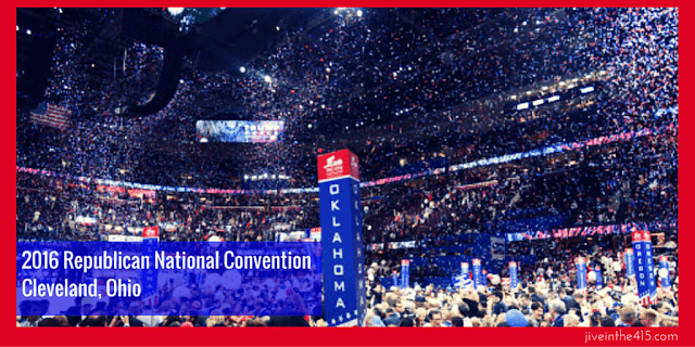 2016 Republican National Convention in Cleveland, Ohio at the Quicken Loans Arena and the closing night red white and blue balloons drop.