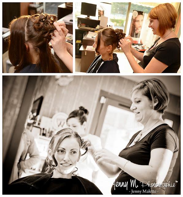 photos coiffure de la mariée, reportage photos chez le coiffeur