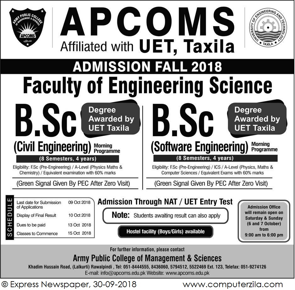 Admissions Open For Fall 2018 At APCOMS Rawalpindi Campus