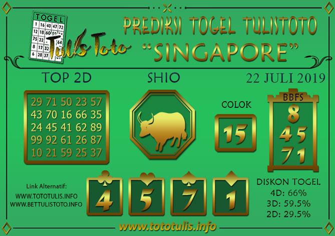Prediksi Togel SINGAPORE TULISTOTO 22 JULI 2019
