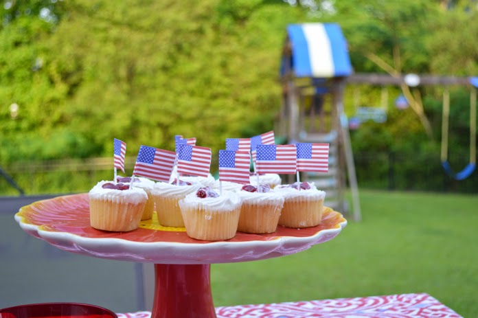 Dollar store flag cupcake toppers