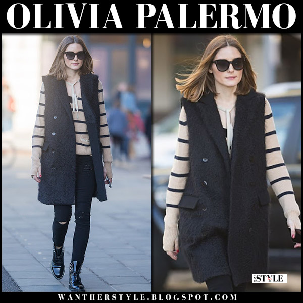 Olivia Palermo in striped sweater, black sleeveless tibi coat and black patent dior rebelle boots street style april 2018