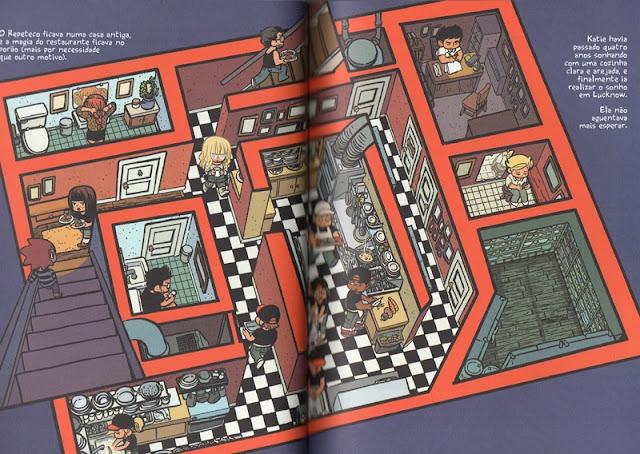 """Imagem da página dupla da obra """"Repeteco"""". Aparece uma visão geral do restaurante onde é possivel ver cada comodo e alguns personagens."""