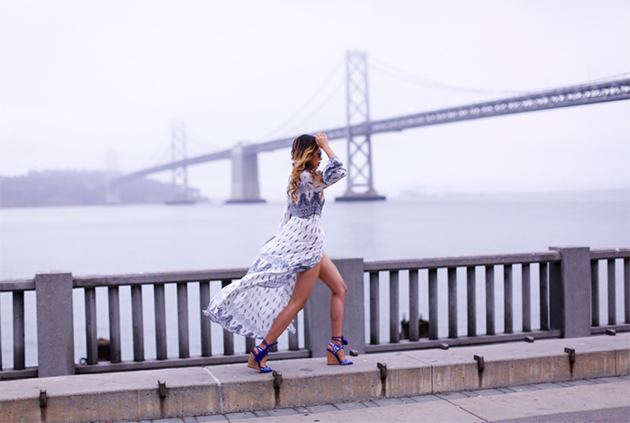floral wrap maxi skirt, paul andrew tassel sandals, chloe sunglasses, baublebar earrings, maxi dress, san francisco bay bridge, san francisco street style