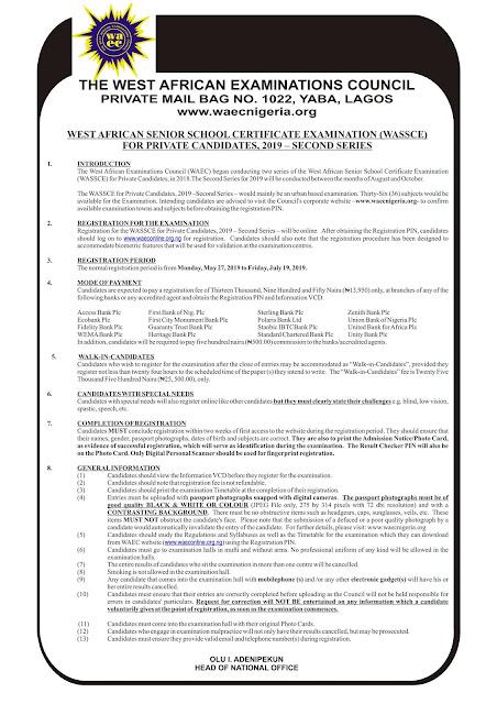 WAEC GCE Registration Form 2019/2020 | August/September (2nd Series)