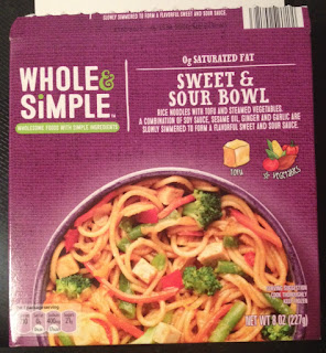 Box packaging for Whole & Simple Sweet & Sour Frozen Protein Bowl, from Aldi