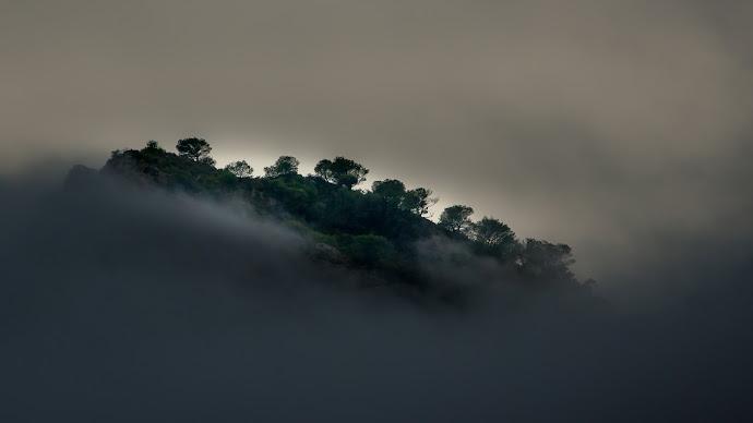 Wallpaper: Storm. Clouds. Hill. Trees