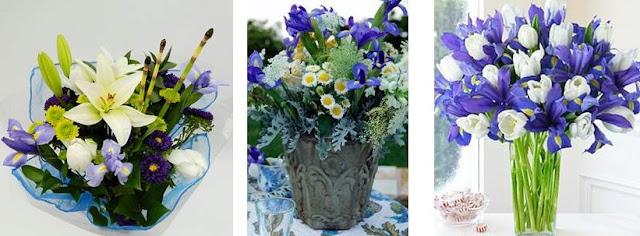 Hanukkah flowers blue and white