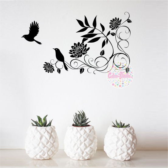 vinilo decorativo pared floral palomas