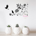 VINILO DECORATIVO PARED FLORAL PALOMAS - W339