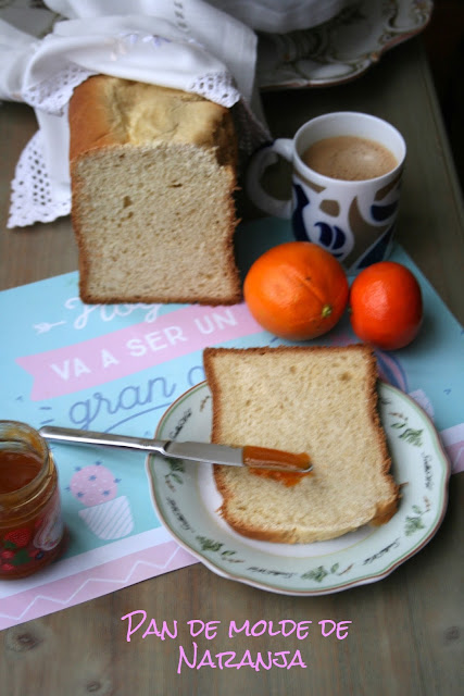 Pan de molde de naranja,panificadora