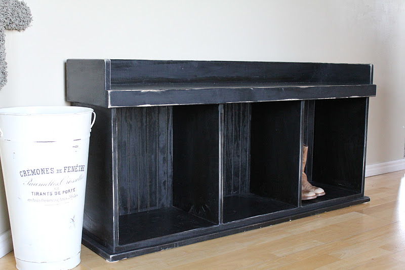 Sure Y Not Shabby Chic Black Shoe Bench