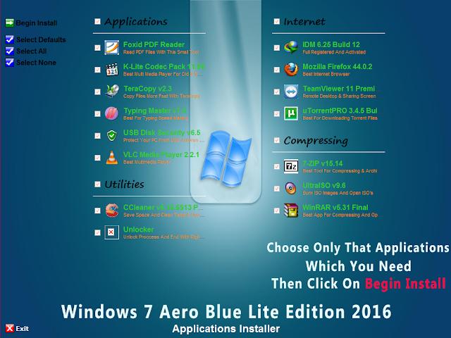 Windows 7 Aero Blue Lite Edition 2016 v2.0