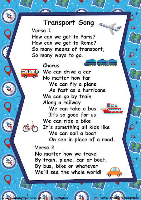 Lyrics of the ESL transportation song for children