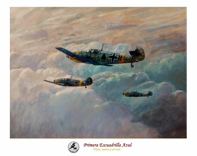 Pintura al óleo de avión Bf-109 Escuadrilla Azul