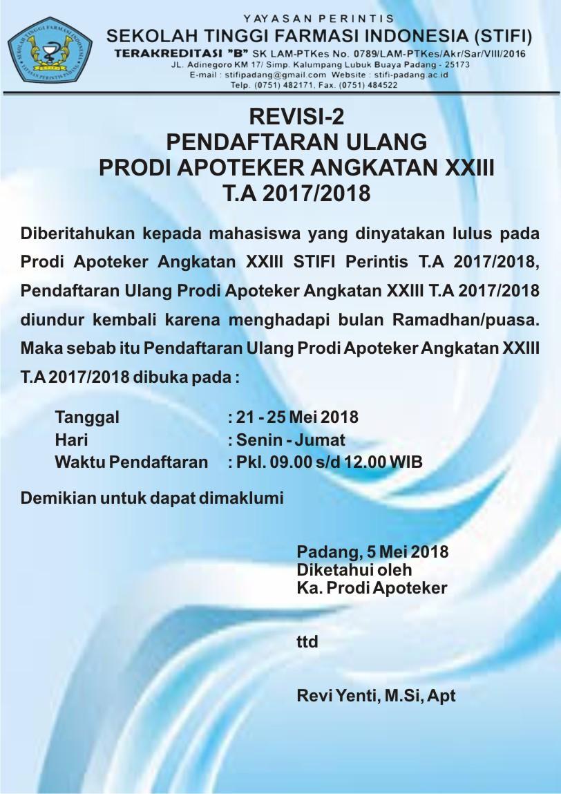REVISI-2 PENDAFTARAN ULANG APOTEKER ANGKATAN XXIII T.A 2017-2018