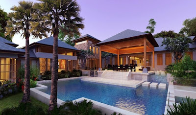Beautiful Swimming Pool Thai Architecture