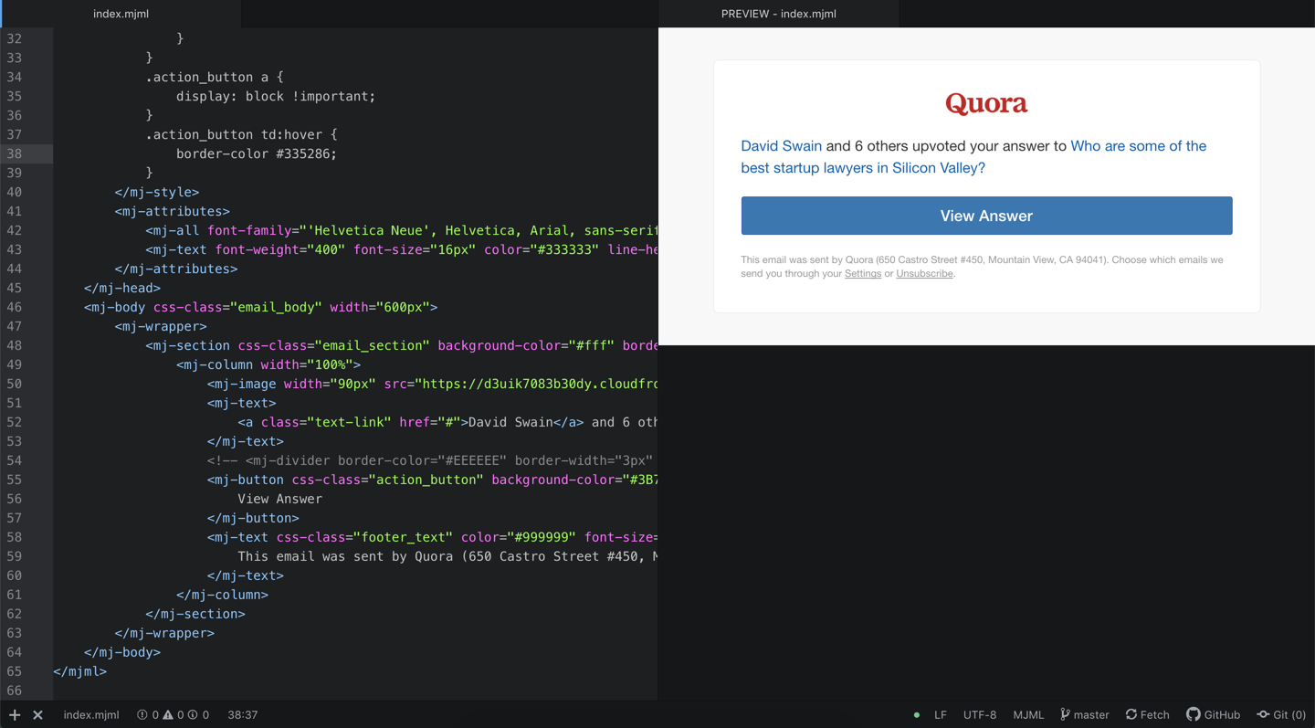 Quora's new email design template as viewed in Atom using MJML packages.