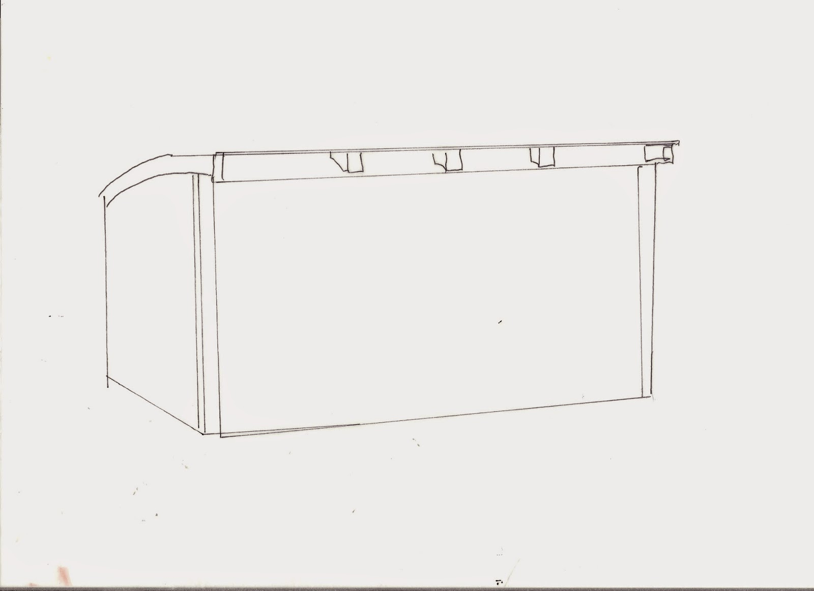 Sketch of an outline of a shed.