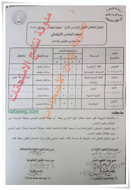 جدول الصف السادس الابتدائى الترم الاول 2017 محافظة المنوفيه