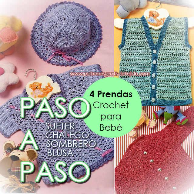 Chaleco, Saquito, Blusa y Sombrero para Bebe de 3 a 12 meses / Paso ...